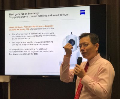 Dr Au Eong Kah Guan delivering his lecture at the Zeiss Cataract Suite Certification Workshop for Nurses in Farrer Park Hospital on 25 March 2017.