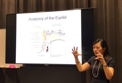 """Dr Joy Chan explaining about droopy eyelids during the """"Common Eye Conditions"""" free Public Forum on 25 March 2017 in Farrer Park Hospital."""
