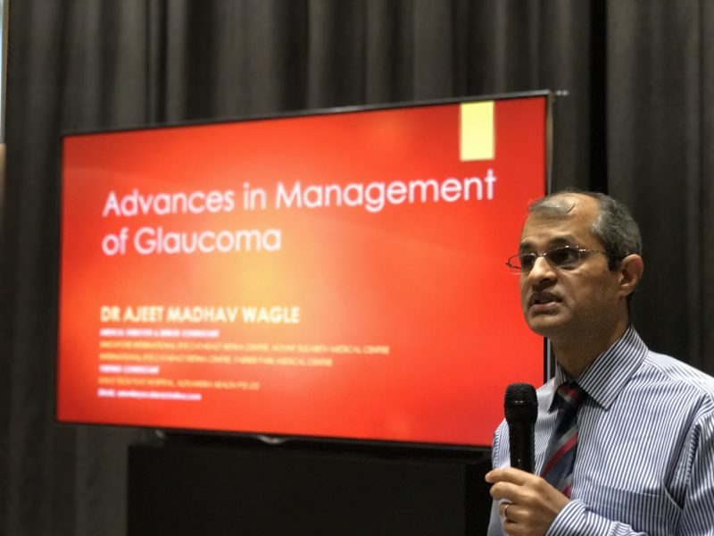"""Dr Ajeet Madhav Wagle speaking at the """"Common Eye Conditions"""" free public forum on 20 May 2017 in Farrer Park Hospital."""
