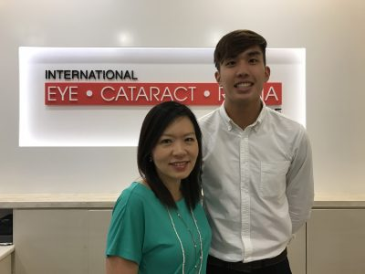 (L-R) Medical Director and Senior Consultant Ophthalmologist Dr Joy Chan and University of Adelaide medical student Ow Yeong Yu Xiang at International Eye Cataract Retina Centre in Farrer Park Hospital.