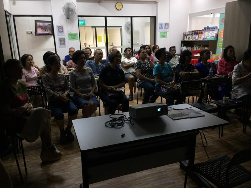 """Residents of Spottiswoode Park listening attentively to Dr Joy Chan's talk on """"Cataract and Glaucoma - What You Should Know"""" on 8 July 2017."""