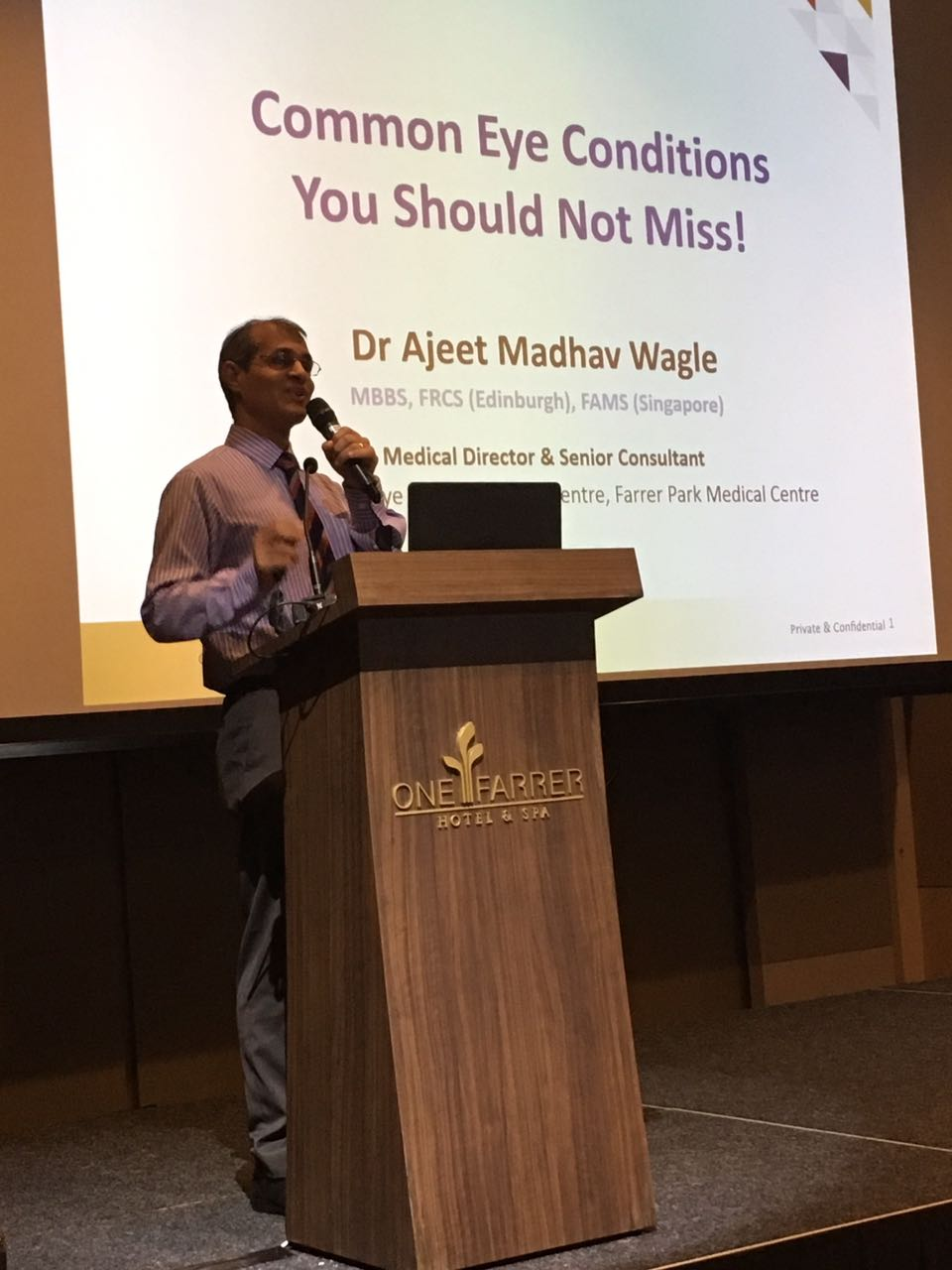 """Dr Ajeet Madhav Wagle delivering his lecture titled """"Common Eye Conditions You Should Not Miss!"""" at the free public forum organised by Farrer Park Hospital on 24 June 2017."""