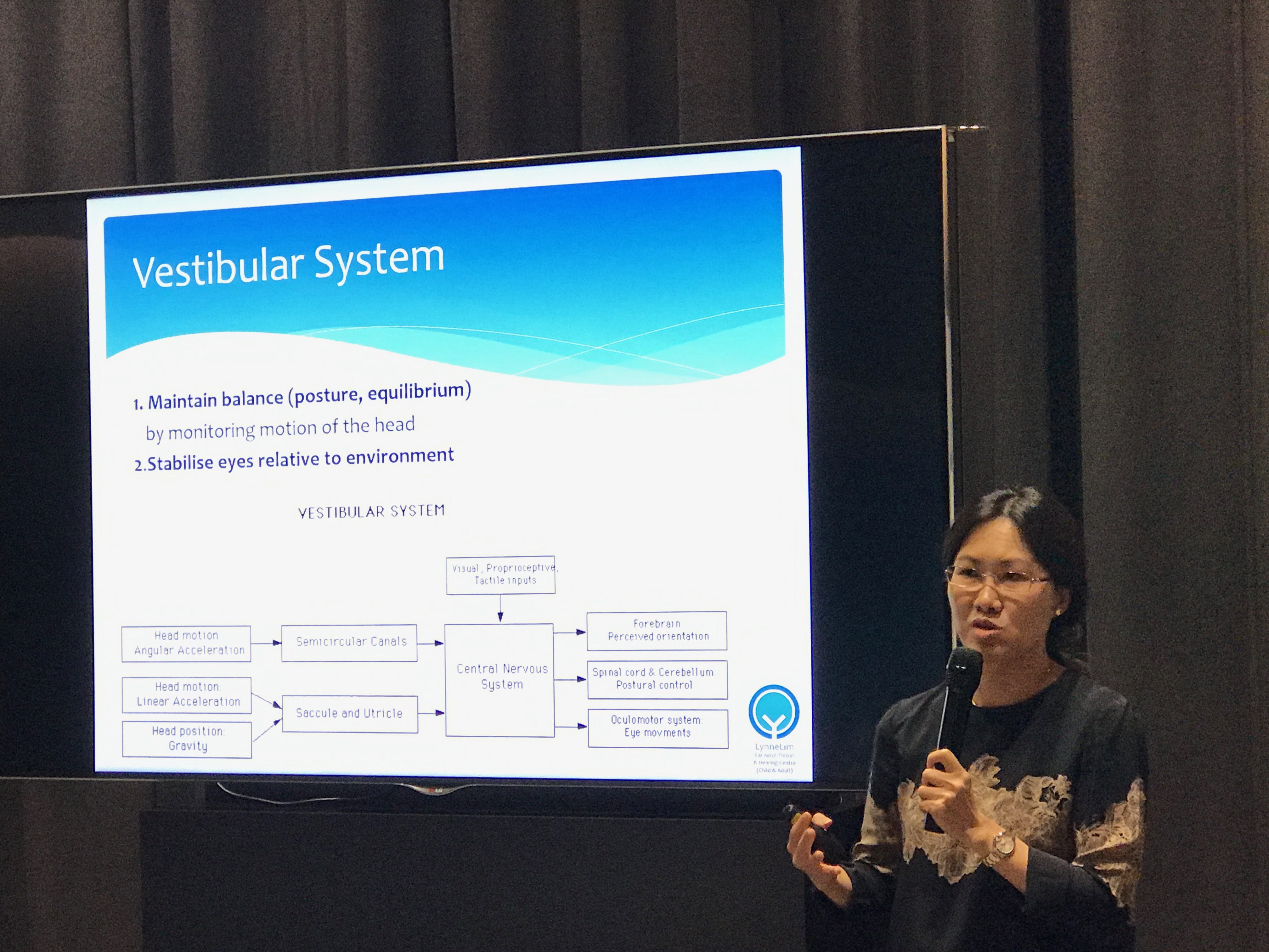Dr Lim Hsueh Yee Lynne, Senior ENT Consultant from Lynne Lim Ear Nose Throat and Hearing Centre, explaining the vestibular system to general practitioners and specialists.