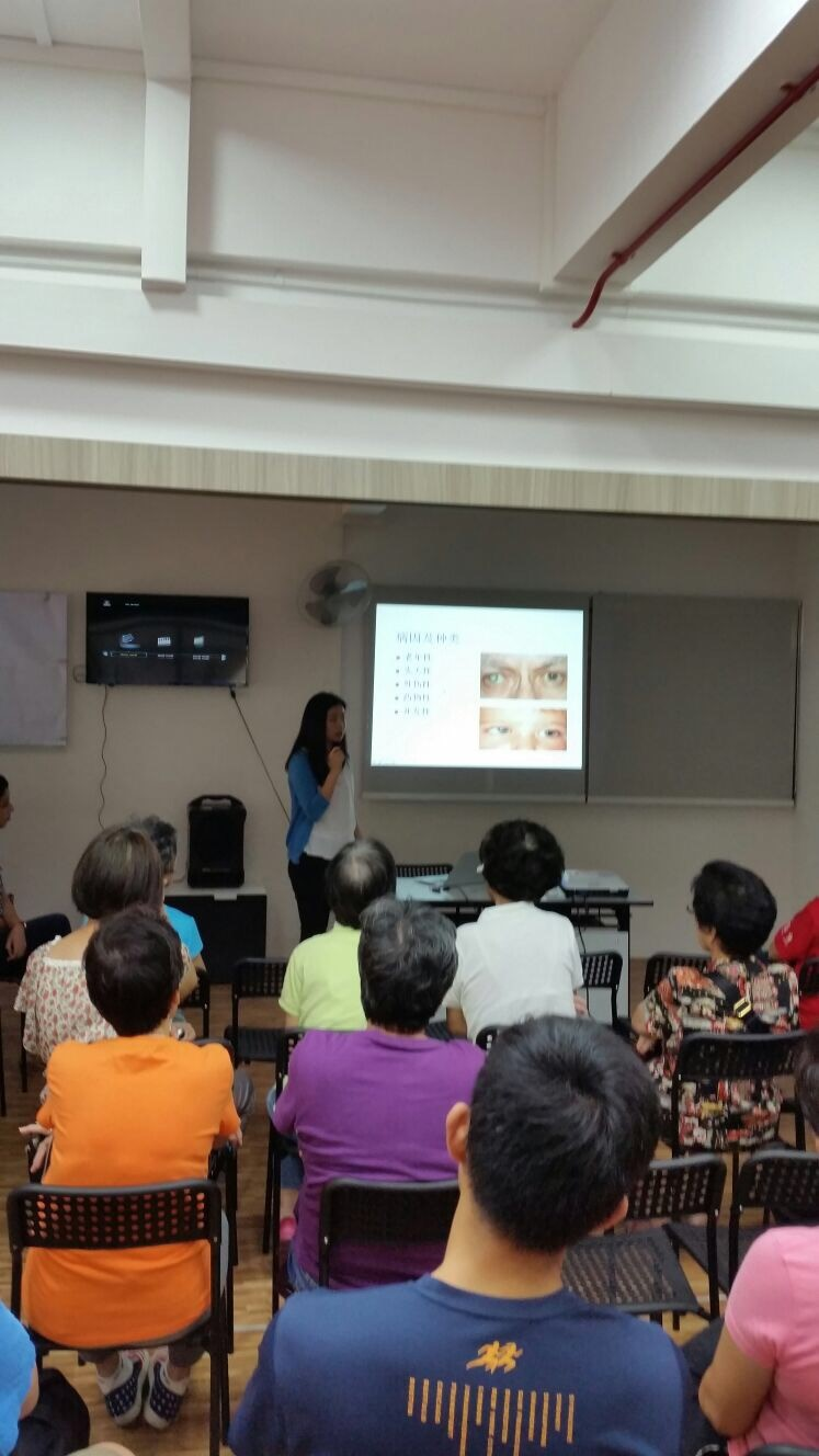 """Ms May Wong Ek Su giving her talk on """"Common Age-related Eye Conditions"""" to residents of Spottiswoode Park on 29 July 2017."""