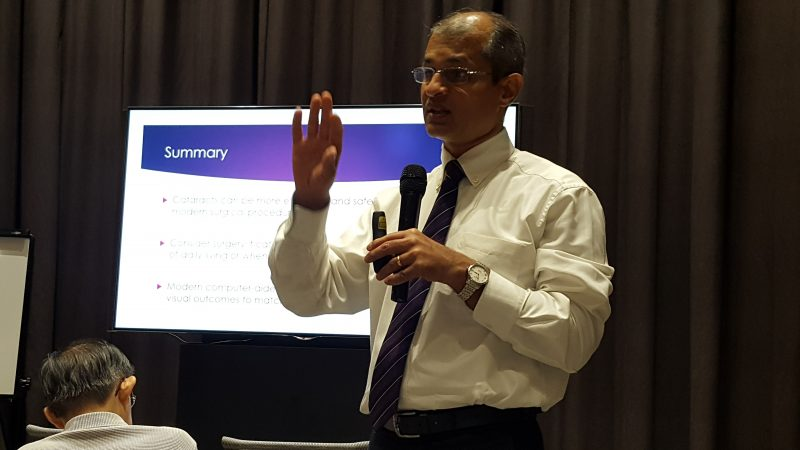 """Dr Ajeet Madhav Wagle speaking at the free public forum on """"Common Eye Conditions"""" in Farrer Park Hospital held in conjunction with Awareness of Macular Diseases Week 2017."""