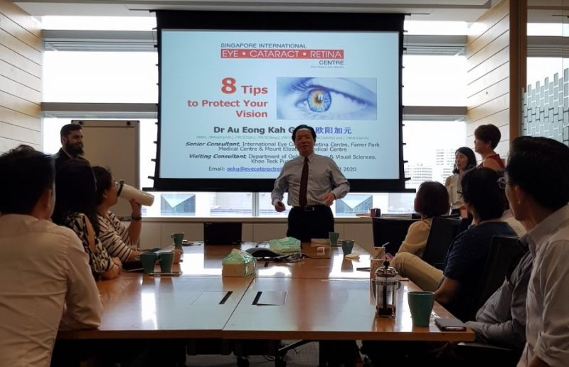 """Senior Consultant Ophthalmologist Dr Au Eong Kah Guan presenting a talk titled """"8 Tips to Protect Your Vision"""" to staff of Novartis (Singapore) Pte Ltd on World Sight Day on 12 October 2017."""