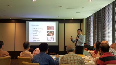 "Dr Au Eong Kah Guan giving a talk on ""Management of Common Eye Problems in General Practice"" to a group of GPs during a lunch-time continuing medical education programme in Peach Garden in Orchid Country Club on 3 November 2017."