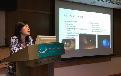 Dr Joy Chan explaining the different causes of tearing to doctors at 'A Clinical Approach to Tearing' Continuing Medical Education talk in Mount Elizabeth Hospital on 21 April 2017.