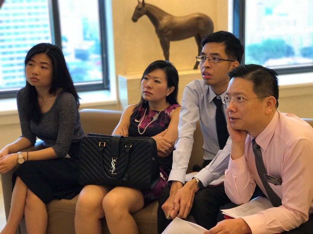 "(L-R) Ms May Wong Ek Su, Dr Joy Chan, Mr Lim Yun Chong and Dr Au Eong Kah Guan listening attentively to a speaker during the ""Electrophysiological Tests for the Eye"" webinar in International Eye Cataract Retina Centre on 4 May 2017."
