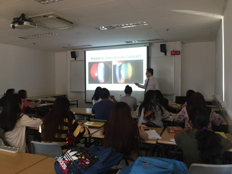 Dr Au Eong Kah Guan explaining the different types of cataract to students enrolled in the Advanced Diploma in Perioperative Nursing course in the School of Health Sciences at Ngee Ann Polytechnic on 10 July 2017.