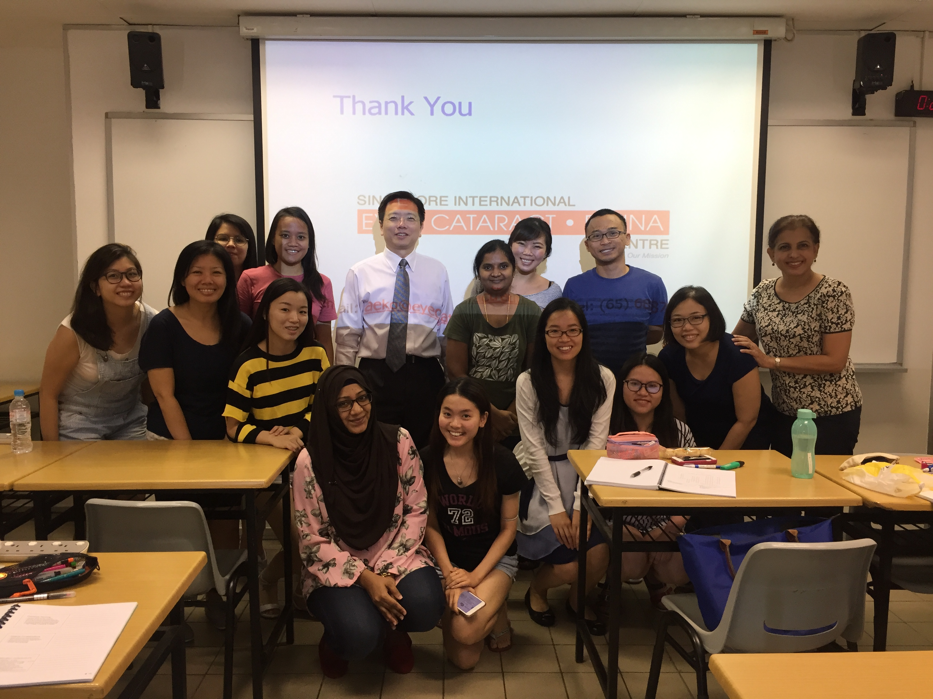 Dr Au Eong Kah Guan and Ms Sukhdev Kaur with students enrolled in the Advanced Diploma in Perioperative Nursing course in the School of Health Sciences at Ngee Ann Polytechnic on 10 June 2017.