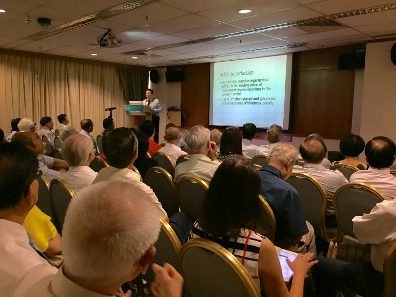 "Medical specialists and general practitioners listening attentively to Dr Au Eong Kah Guan's lecture on ""Age-related Macular Degeneration: Current Concepts & Management"" at Mount Elizabeth Hospital on 18 August 2017."