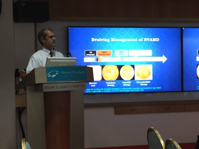 Dr Ajeet Madhav Wagle sharing insights on the evolving management of neovascular age-related macular degeneration with ophthalmologists on 25 October 2017 at Mount Elizabeth Hospital.
