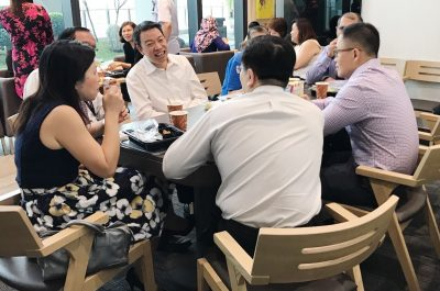 Member of Parliament for Tanjong Pagar Group Representative Constituency (GRC) Mr Melvin Yong Yik Chye with Farrer Park Hospital's CEO Dr Peng Chung Mien and ophthalmologists Dr Joy Chan, Dr Au Eong Kah Guan, Dr Bobby Cheng and Dr Ajeet Madhav Wagle chatting over lunch.