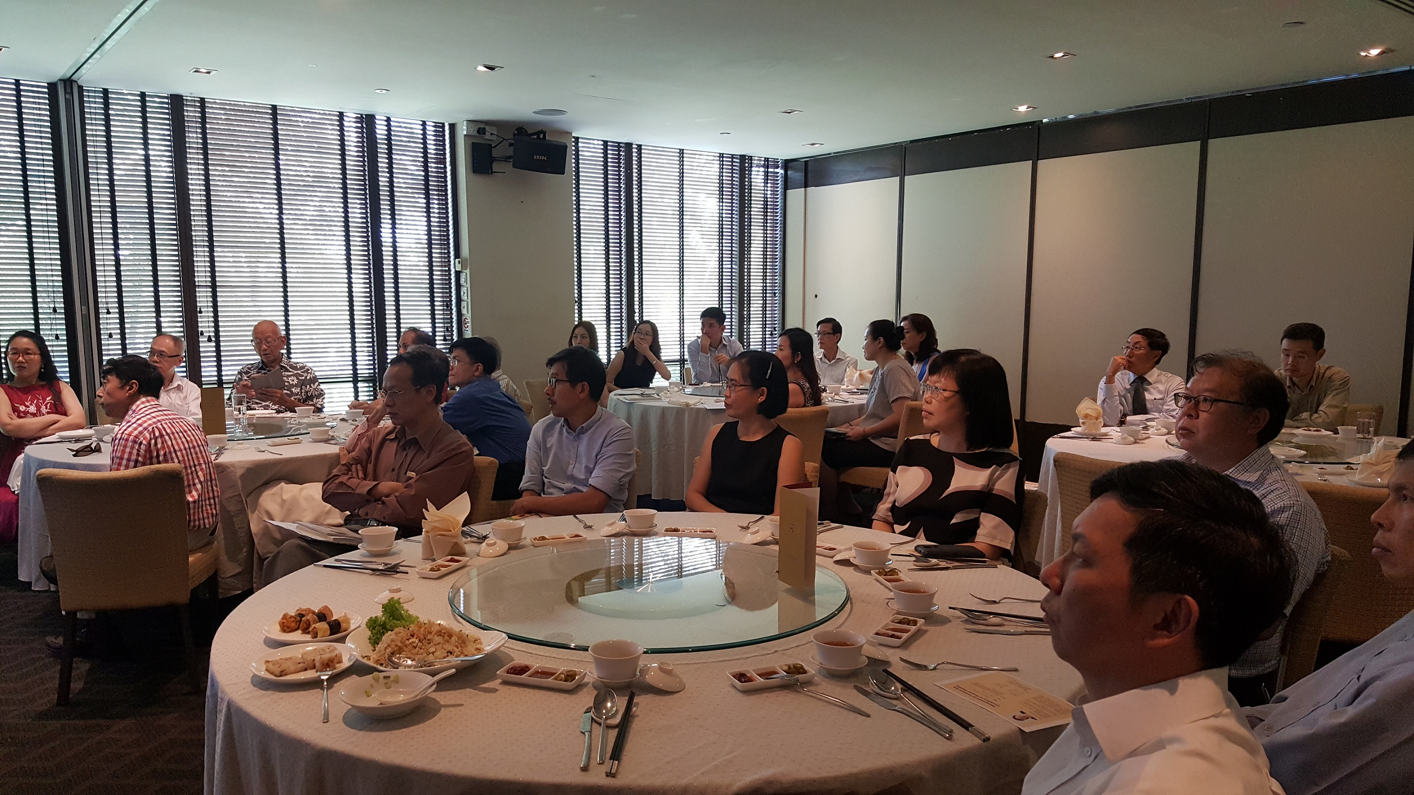 Participants listening attentively to the talk conducted by Dr Au Eong Kah Guan during a lunch-time continuing medical education programme in Peach Garden in Orchid Country Club on 3 November 2017.