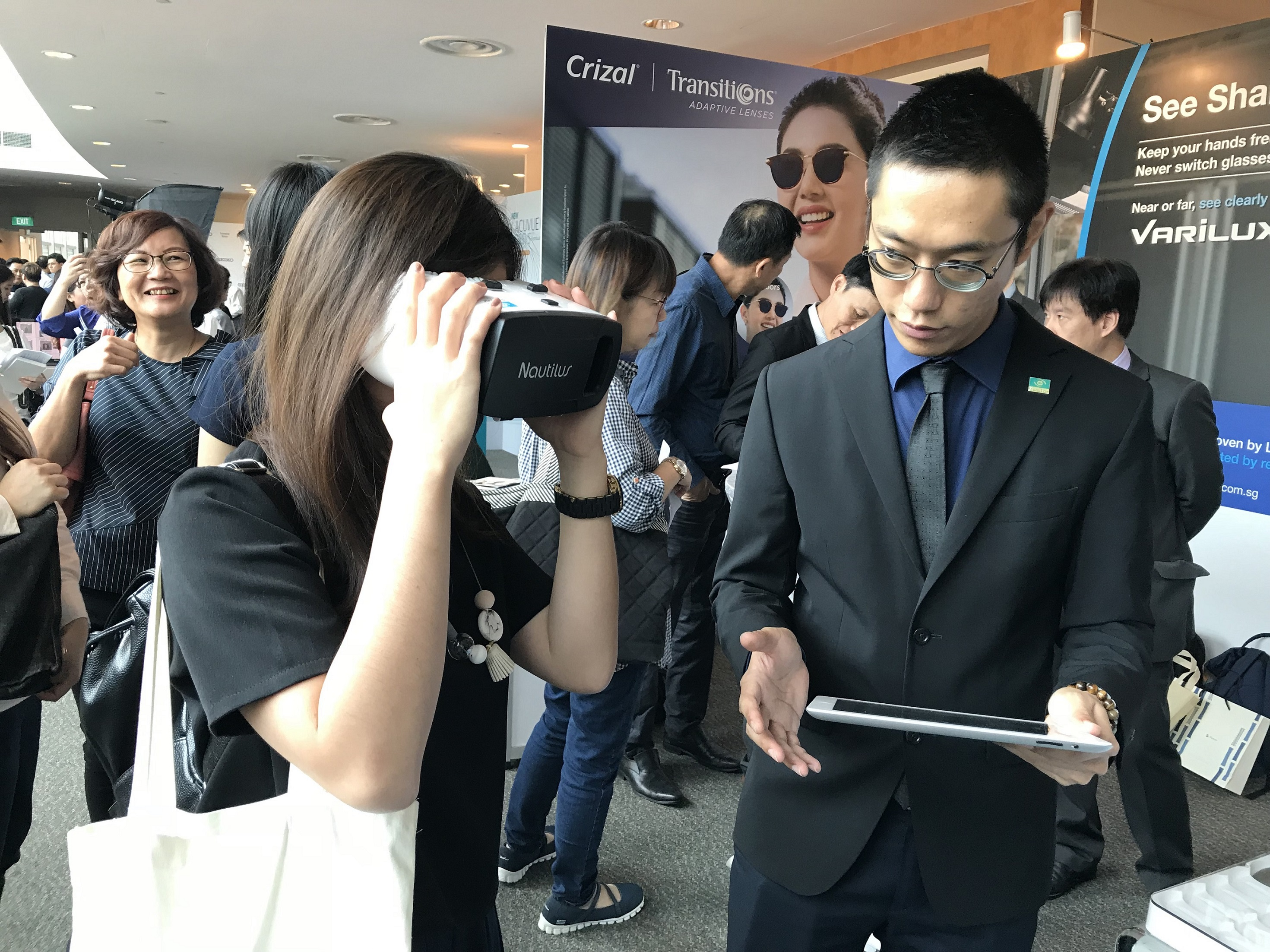 International Eye Cataract Retina Centre optometrist Ms Ng Shu Yi at the trade exhibition of the 3rd Annual Singapore Optometric Assocaition Conference held on 27-28 September 2017.