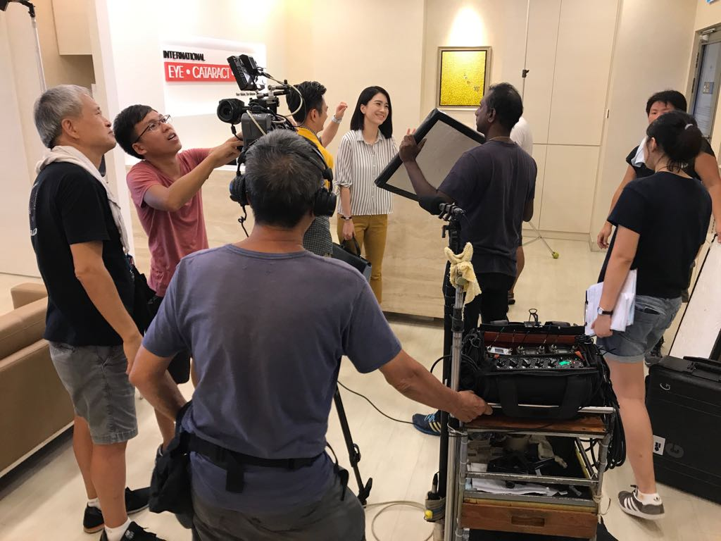 Shooting of a scene for the new TV series  in International Eye Cataract Retina Centre at Farrer Park Hospital.