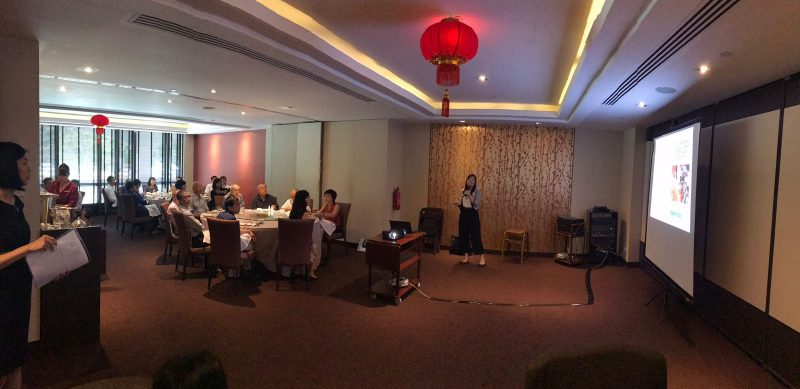 Dr Joy Chan delivering her talk on 'The Red Eye' to general practitioners at Peach Garden Restaurant, Orchid Country Club on 25 January 2018.