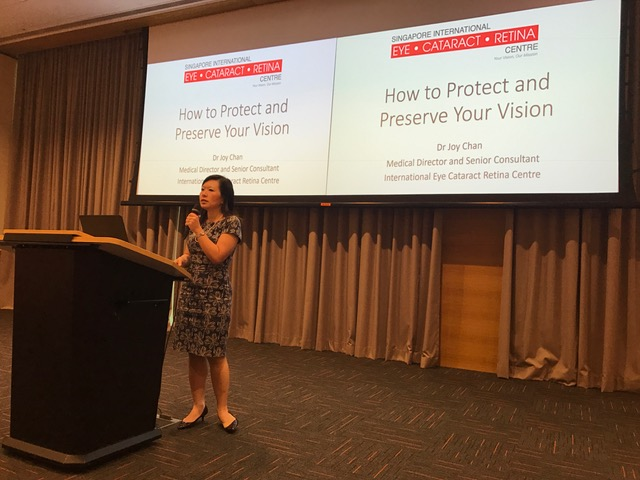 "Dr Joy Chan sharing some insights on 'How to Protect and Preserve Your Vision' in conjunction with the ""Eat Right for a Healthier You"" event organised by the Asian Culinary Institute and Nanyang Polytechnic at the Lifelong Learning Institute on 27 January 2018."