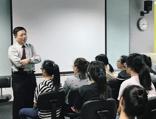 Dr Au Eong Kah Guan Demonstrates Clinical Examination Techniques to Ngee Ann Polytechnic Optometry Students