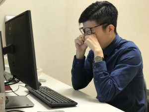 Computer vision syndrome is associated with eye strain after long periods of computer use.