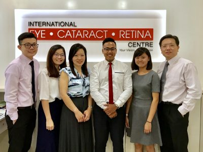 The team and I (fourth from left) at International Eye Cataract Retina Centre in Farrer Park Medical Centre