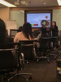 "Dr Joy Chan delivering her talk on ""How to Preserve and Protect your Vision"" to staff at Lockton (Singapore) on 3 August 2018"