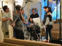 Actor James Seah and actress Dawn Yeoh shooting a scene for the new TV series < Jalan Jalan> in International Eye Cataract Retina Centre at Farrer Park Medical Centre on 3 August 2018