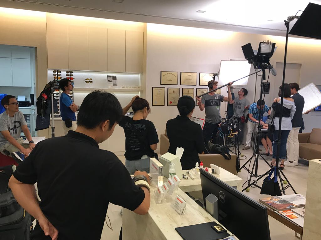 Filming of a new TV series < Jalan Jalan> in International Eye Cataract Retina Centre at Farrer Park Medical Centre on 3 August 2018