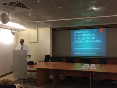 "Dr Ajeet Madhav Wagle giving his lecture on ""Advances in the Understanding and Management of Diabetic Retinopathy"" to a group of pharmacists from Guardian on 1 August 2018"