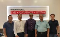 Dr Ajeet Madhav Wagle (centre) with Professor Wang Yuangui (second from R) and his team at International Eye Cataract Retina Centre in Farrer Park Medical Centre