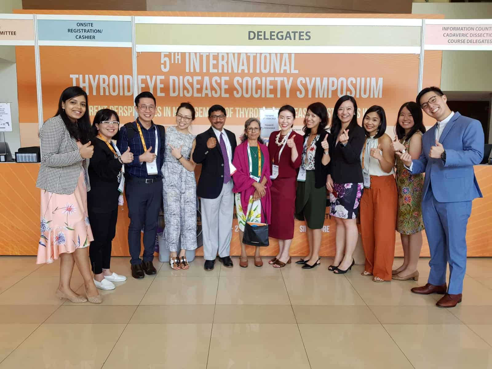 Dr Shantha Amrith (centre) with friends and colleagues at the 5th International Thyroid Eye Disease Society (ITEDS) Symposium held on 20-23 February 2019 in Singapore